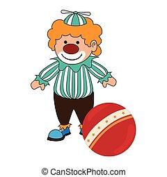 小丑, 球, 侧面影象, 彩色, 色彩丰富