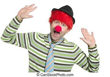 小丑, redhead, 假發, 愉快, 有趣, 姿態