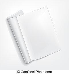 小冊子, 白, 開いた, 背景