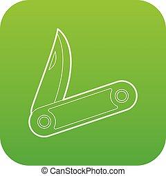 小刀, 圖象, 綠色, 矢量