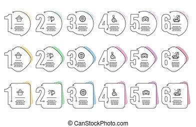 小包, 箱, set., アイコン, 追跡, 不具, カートを押しなさい, signs., サービス, ベクトル, 送りなさい, 自動車