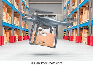 小包, storehouse., レンダリング, 3d, 無人機