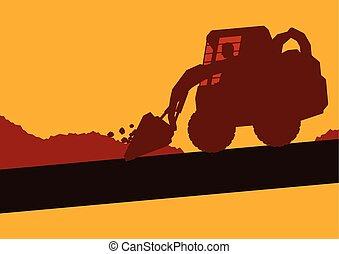 小型, 工作, excavator, 内部, 工人, 站点, 矢量, 建设, 船舱