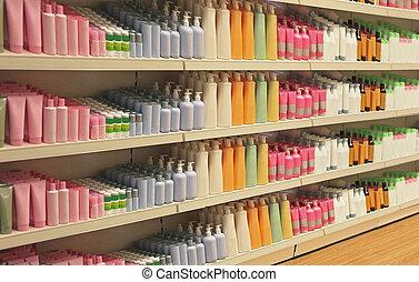 小売り, 化粧品, 店, 棚