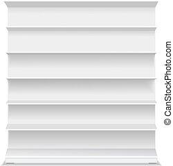 小売り, 空, ベクトル, バックグラウンド。, ショーケース, 長い間, プロダクト, ブランク, shelf., 白, イラスト, スーパーマーケット, 3d