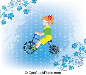 小女孩, 在上, a, 三轮车