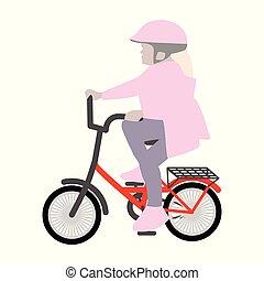 小女孩, 在上, a, 小, 自行车头盔