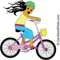 小女孩, 在上, a, bicycle.