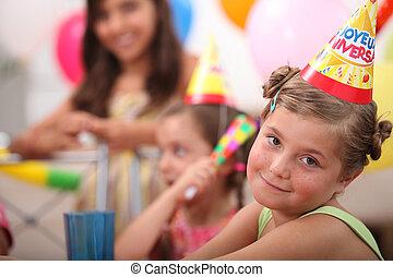 小女孩, 在, 生日