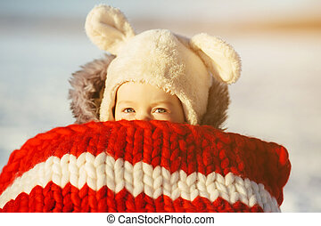 小女孩, 孩子, 坐, 上, 雪橇