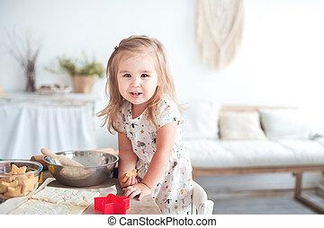 小女孩, 幫助, 烹調, 概念, ......的, 愛, 以及, 家庭, 身心健康