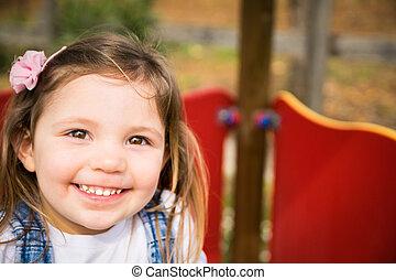 小女孩, 微笑, 上, a, playground.