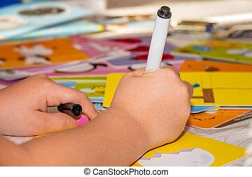 小女孩, 拉一幅圖畫, ......的, playcard