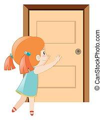 小女孩, 推, the, 門打開
