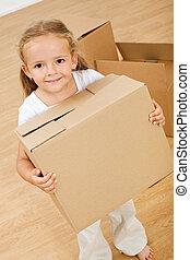 小女孩, 移動, 進, 新的房子