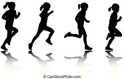 小女孩, 跑, 黑色半面畫像