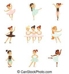 小女孩, 跳舞, 芭蕾舞, 在, 第一流, 跳舞, 類別, 未來, 專業人員, 芭蕾舞女演員, 舞蹈家