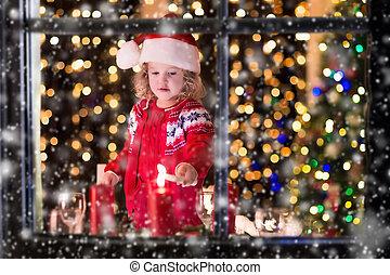 小女孩, 點燃, 蜡燭, 在, 圣誕節晚飯