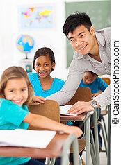 小学校 教師, 助力, 学生
