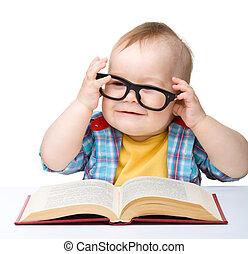 小孩子, 玩, 書, 以及, 眼鏡