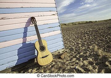 小屋, ギター, 浜, 音響