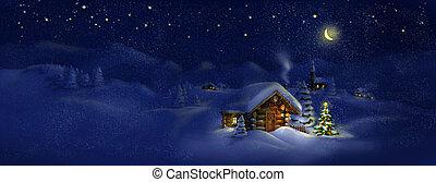 小屋, クリスマス, パノラマ, ライト, 木