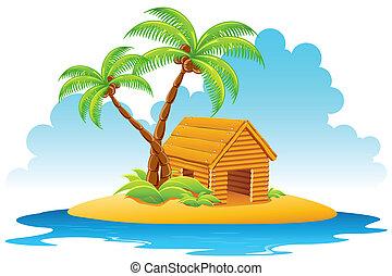 小屋, 在, 島
