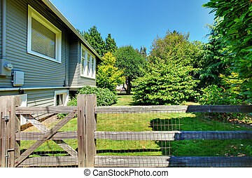小屋, 庭, アップル, 家, 背中, 木。