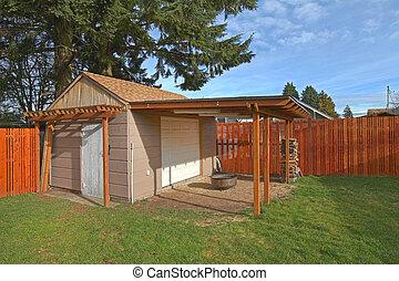 小屋, 庭, 囲われる, 背中, ベージュ, 小さい