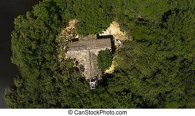 小屋, 航空写真, 島, 雨, トロピカル, 中央, 森林, 単独で, 光景, ジャングル