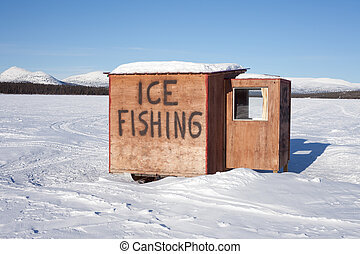 小屋, 釣魚, 冰
