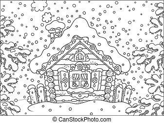 小屋, 雪, 丸太