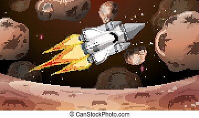 小惑星, シャトル, によって, 飛行, スペース
