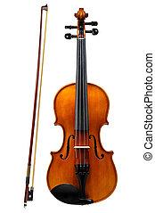 小提琴, 白色, 隔离, 鞠躬