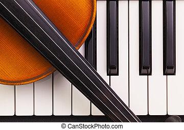 小提琴, 鋼琴, 老, 躺