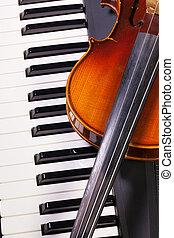 小提琴, 鋼琴, 老, 鍵盤