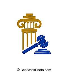 小槌, アイコン, 正義, ベクトル, デザイン, 隔離された, 会社, 法律, 柱, ロゴ, テンプレート