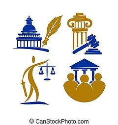 小槌, セット, 正義, ベクトル, デザイン, 会社, 法律, 柱, ロゴ, テンプレート