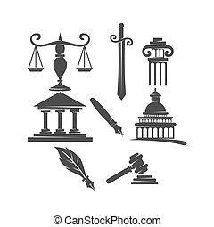 小槌, バランス, アイコン, セット, 正義, 剣, デザイン, 会社, 法律, 柱, ロゴ