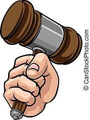 小槌, 漫画, 手を持つ, 裁判官, 握りこぶし, ハンマー