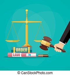小槌, 裁判官, 本, 法律, スケール