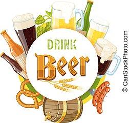 小樽, ビール, びん, eps, コーン, 隔離された, ラベル, ビール, 背景, ホツプ, sausages., beer', 10., 大袈裟な表情をする, 暗い, 'drink, 透明, イラスト, ライト, プレッツェル, 大麦, ベクトル