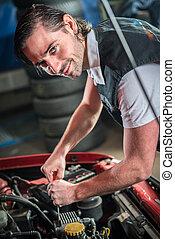 小汽車技工, 在, 汽車修理, 服務
