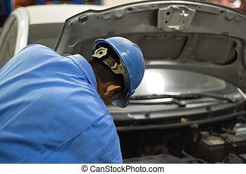 小汽車技工, 在, uniform., 汽車修理, 服務