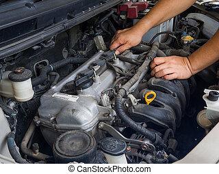 小汽車技工, 工作, 在, 汽車修理, 服務