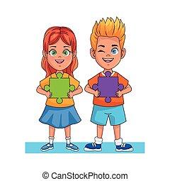 小片, わずかしか, 困惑, avatars, 幸せ, 特徴, 子供