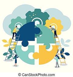 小片, グループ, 成功, ひらめき, 巻き込まれた, 困惑, ∥あるいは∥, チーム, ビジネスマン, サポート