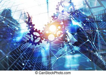小片, ダブル, 効果, 統合, 連結しなさい, gears., さらされること, ネットワーク, チームワーク, ビジネス, concept., チーム, 協力
