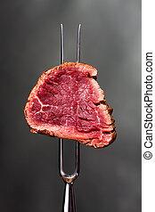 小片, フォーク, ステーキ, 肉