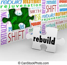 小片, 単語, 壁, rebuild, 始めなさい, 新しい, reinvent, 困惑